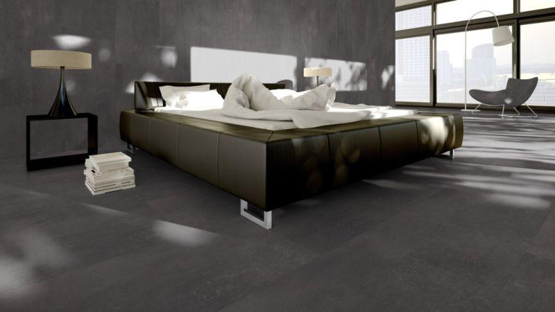 Skaben Vinylboden massiv Life 55 Zement Dunkelgrau Fliese 4V zum kleben