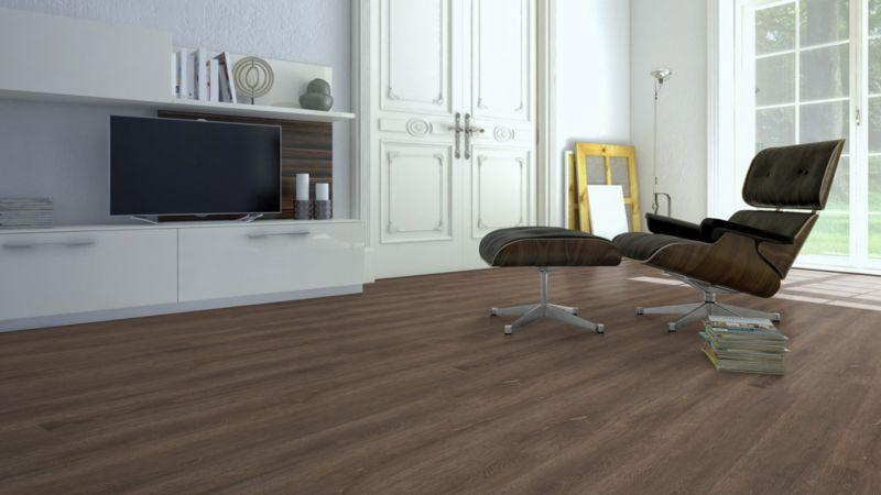 Skaben Vinylboden massiv Life 55 Scharlach Eiche dunkel natürlich 1-Stab Landhausdiele 4V zum kleben