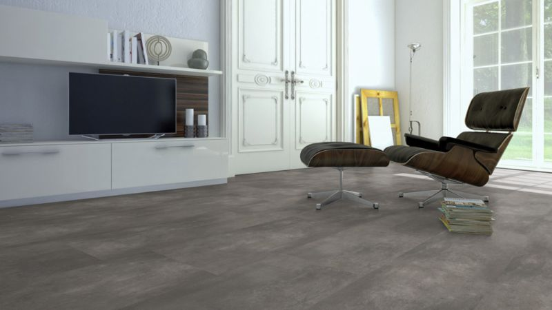 Skaben Vinylboden massiv Life Click 55 Zement natürlich Fliese 4V zum klicken