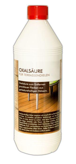 Oxalsäure zum Entfernen von schwarz gewordenen Wasserflecken aus Holzböden und Terassendielen
