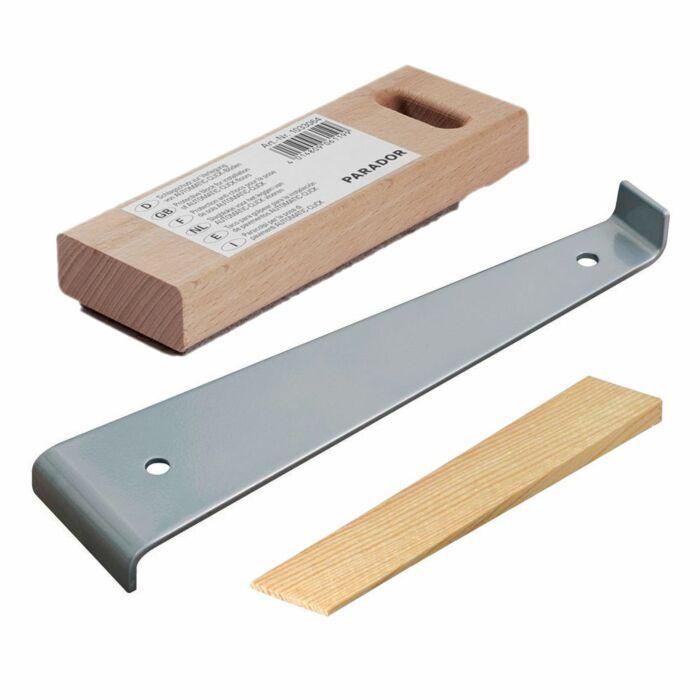 Verlegeset für Parkett - Zugeisen, Schlagschutz, 12 Holzkeile