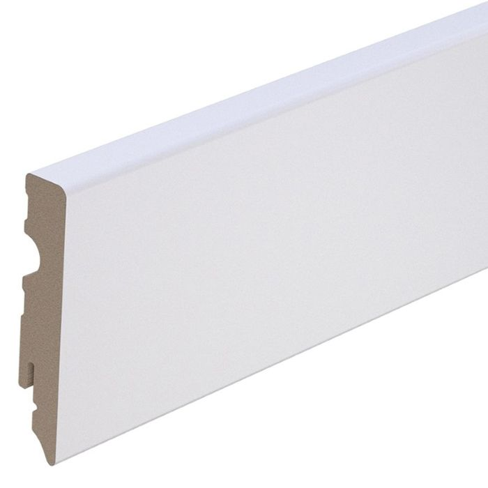 Brebo elegant white skirting angular slightly chamfered 8 cm height