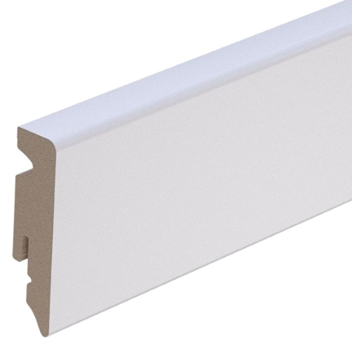 Brebo elegant white skirting angular slightly chamfered 6 cm height