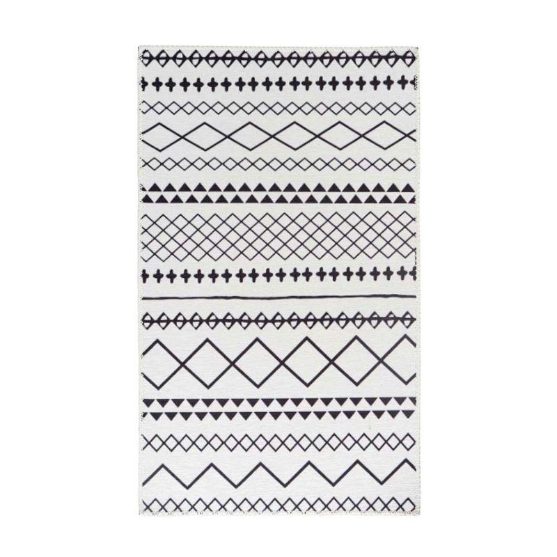 Flachflorteppich Weiß mit RAUTEN und DREIECKEN Schwarz rechteckig Höhe 5 mm