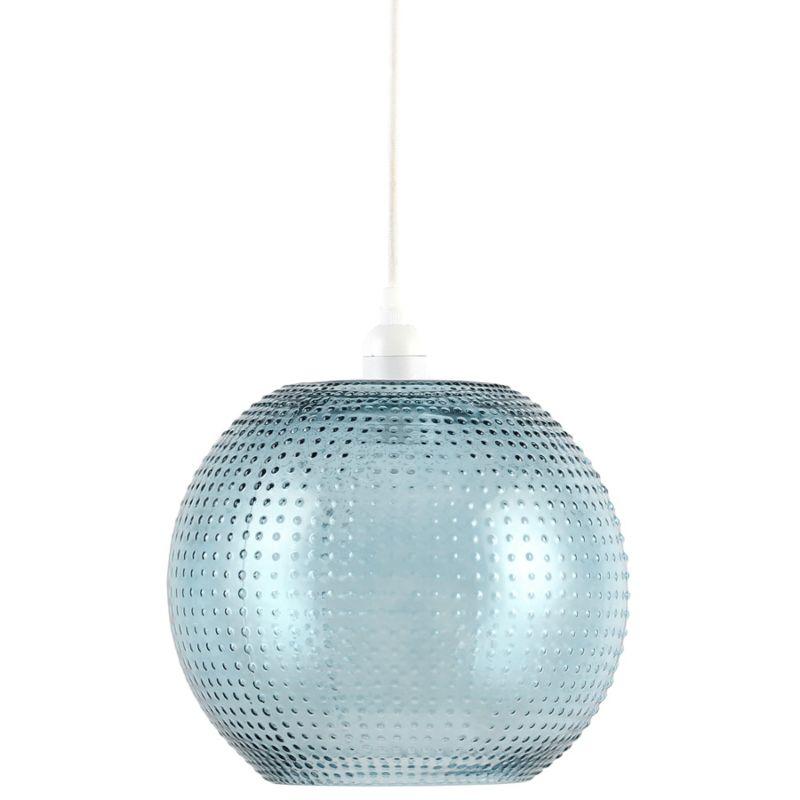 Hängelampe Camellia in Moderne Design in Farbe Blau / Weiß aus Glas handgefertigt