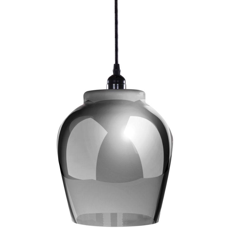Hängelampe Elegance in Moderne Design in Farbe Grau / Schwarz aus Glas handgefertigt