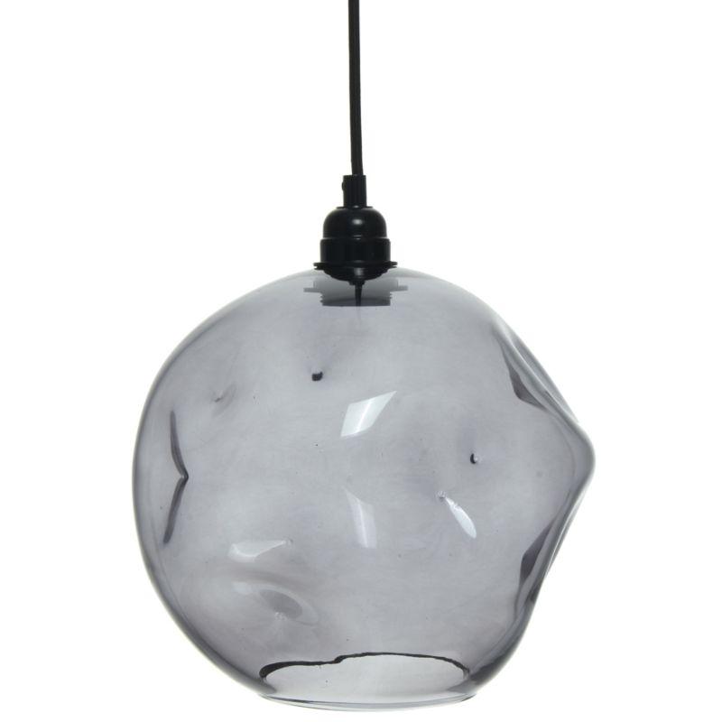 Hängelampe Jessika in Moderne Design in Farbe Grau aus Glas handgefertigt