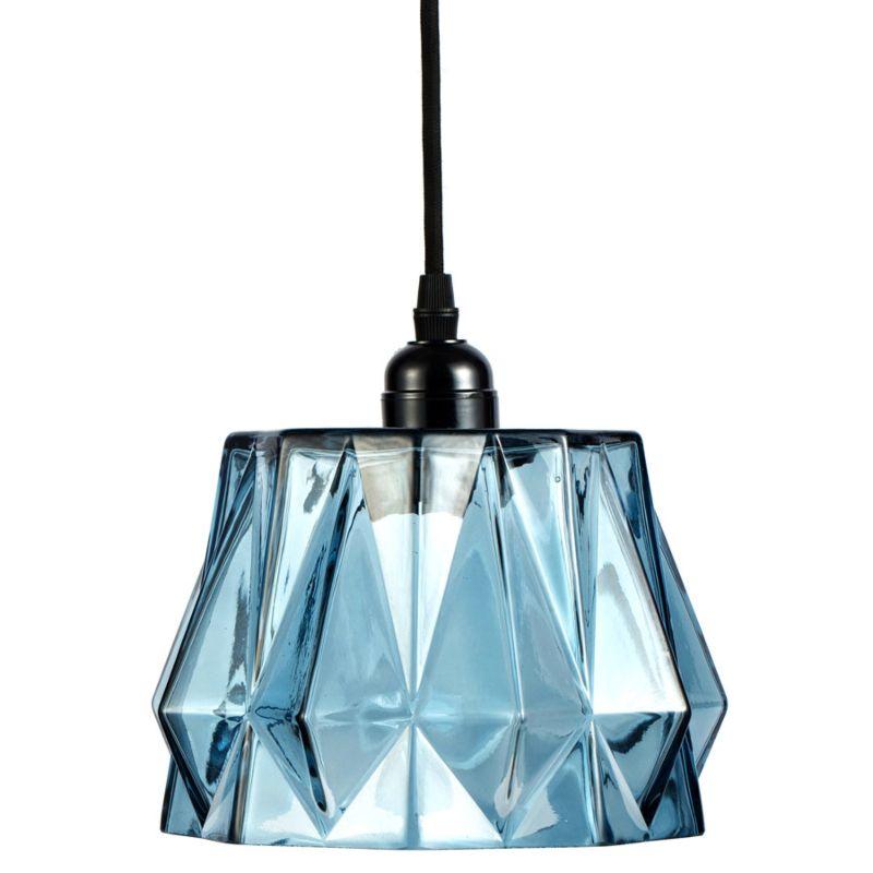 Hängelampe Rose in Moderne Design in Farbe Blau aus Glas handgefertigt