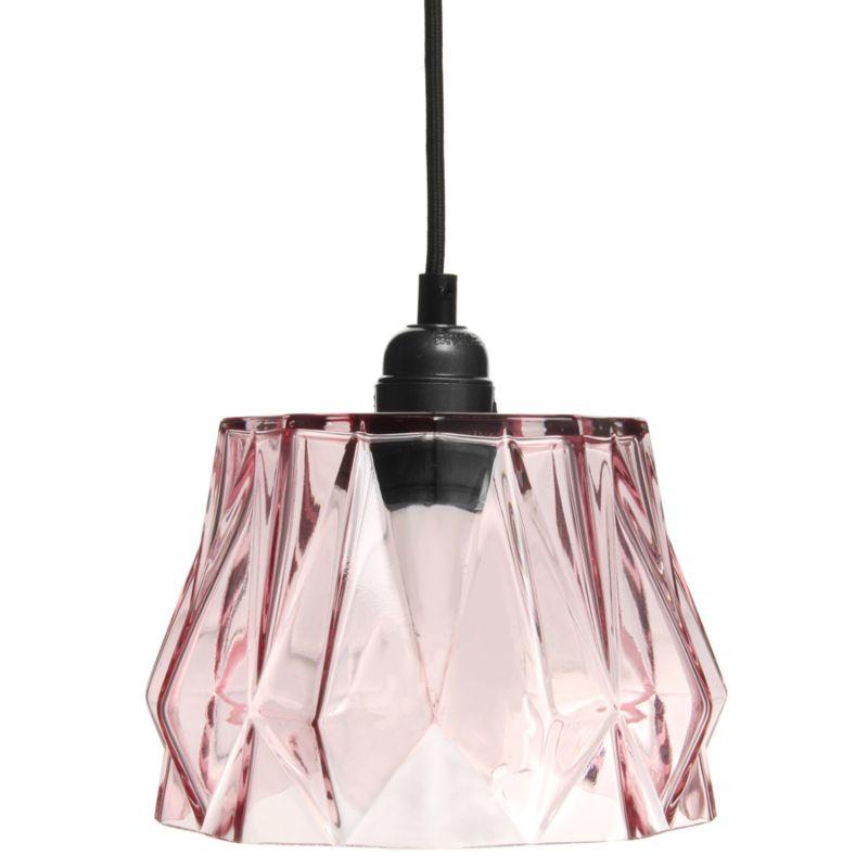 Hängelampe Rose in Moderne Design in Farbe Rosa aus Glas handgefertigt