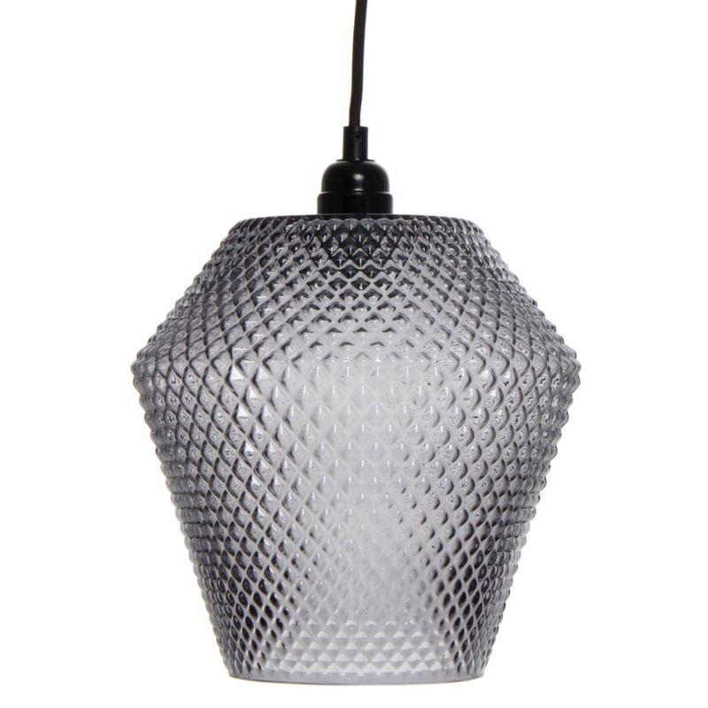 Hängelampe Summer Rain in Moderne Design in Farbe Grau aus Glas handgefertigt