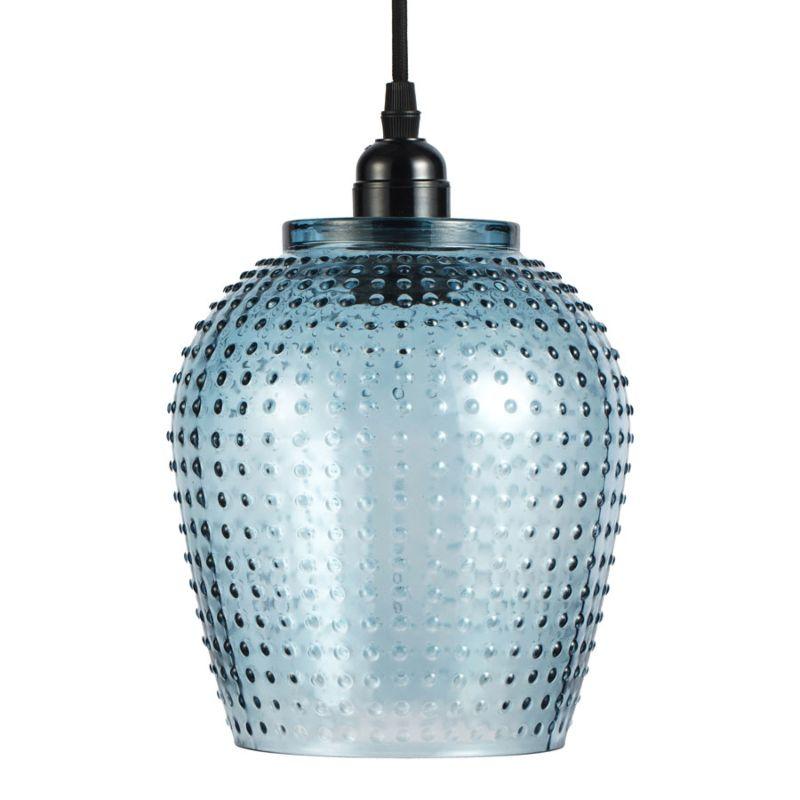 Hängelampe Waterlily in Moderne Design in Farbe Blau aus Glas handgefertigt