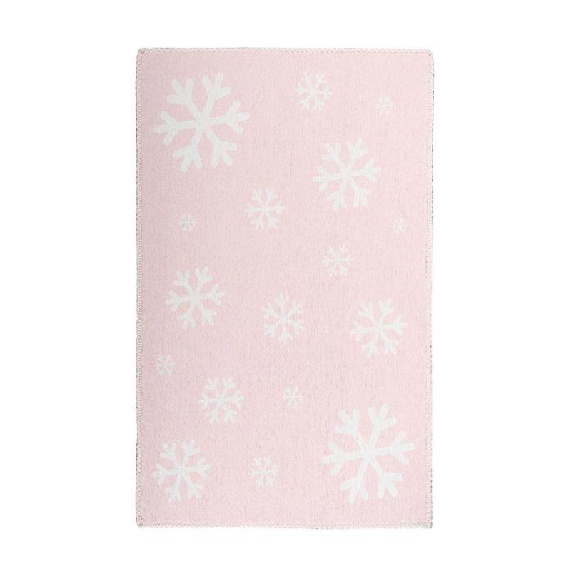 Kinderteppich Rosa SCHNEEFLOCKEN Weiß rechteckig Höhe 5 mm