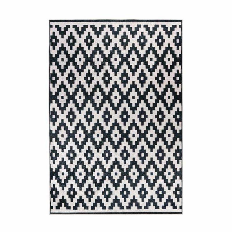Kurzflorteppich Modern Weiß mit Schwarze RAUTE Muster rechteckig Höhe 6 mm