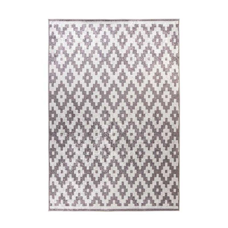 Kurzflorteppich Modern Weiß mit Taupe RAUTE Muster rechteckig Höhe 6 mm