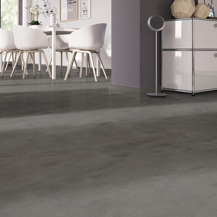 Skaben vinyl floor solid Life 30 concrete dark grey tile to glue