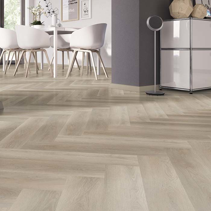 Skaben vinyl floor solid Life 30 oak soft Greige herringbone to glue