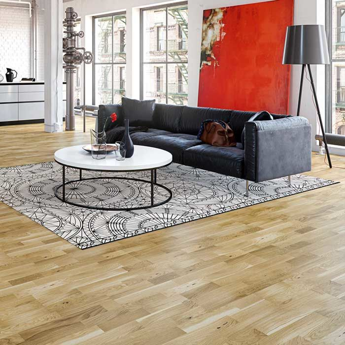 Skaben parquet Premium 3-plank ship's floor oak Harmony lacquered length 1092mm