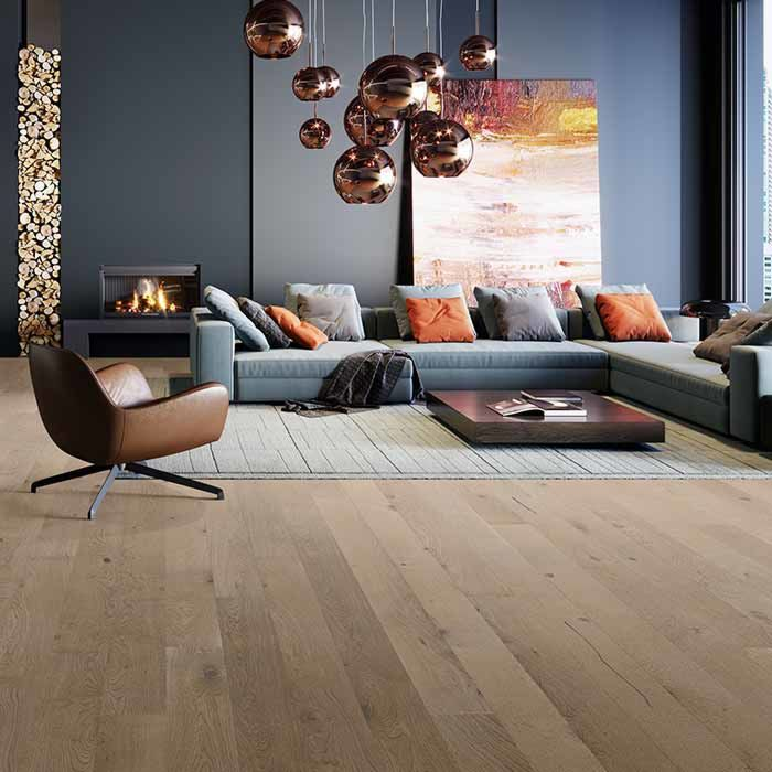 Skaben parquet Premium wideplank oak rustic natural oiled beige-grey brushed M4V