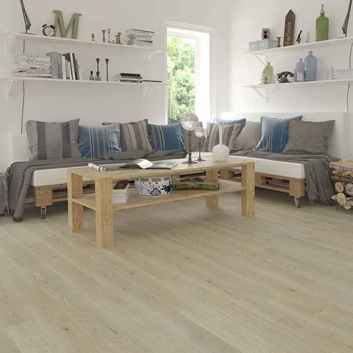 Skaben engineered wood flooring Premium 1-plank wideplank oak ambience extra matt sealed cream-white brushed M4V