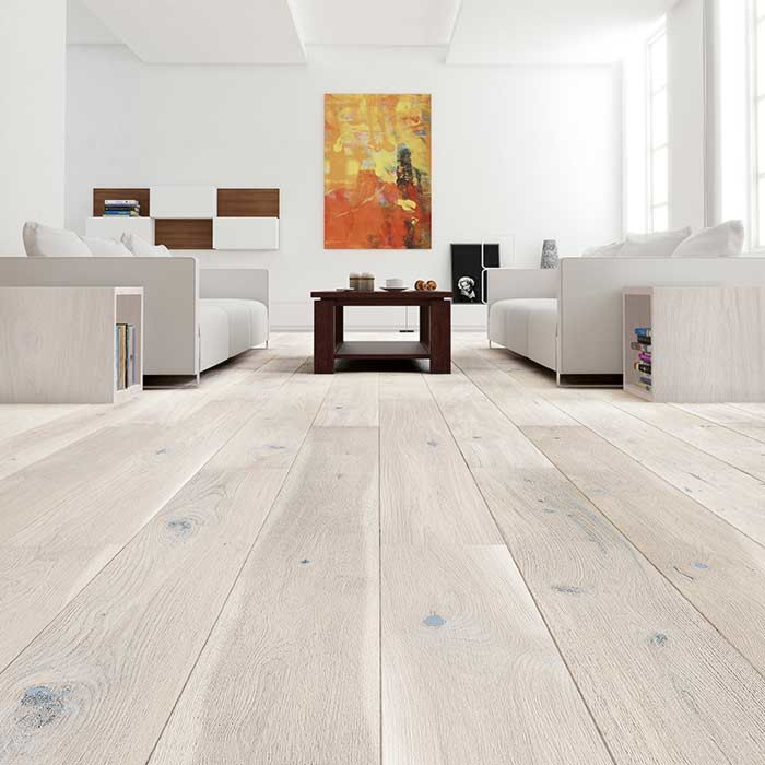 Skaben Parquet Premium 1-strip wide plank Oak Lively extra matt finish cream brushed 2V