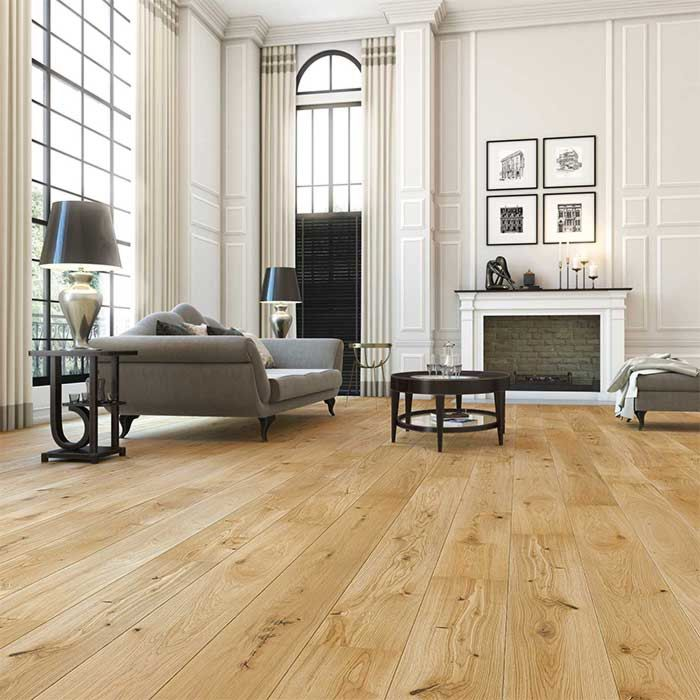 Skaben engineered wood flooring Premium 1-plank wideplank oak Lively natural oiled brushed 2V