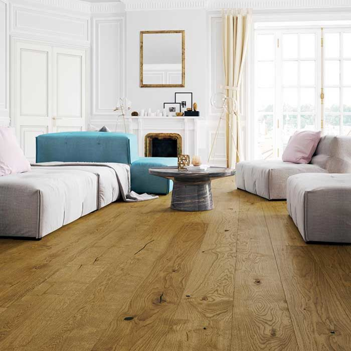 Skaben engineered wood flooring Premium 1-plank wideplank oak rustic extra matt sealed smoked look brushed 2V