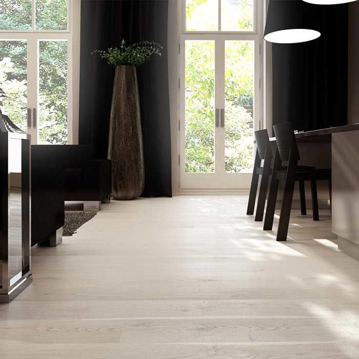 Skaben engineered wood flooring Premium 1-plank wideplank oak Rustic natural oiled white light brushed 2V