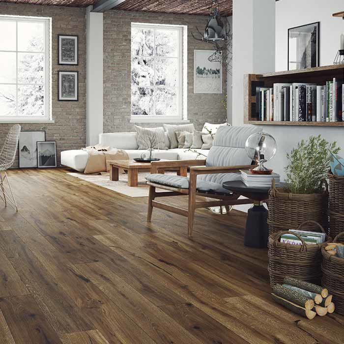 Skaben Parquet Premium 1-strip wide plank Oak Unique naturally oiled brown brushed 4V