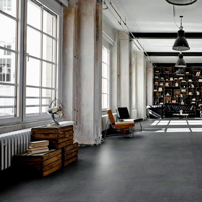 Tarkett Designboden iD Click Ultimate 55 Polished Concrete Graphite Fliese 4V Akustikrücken