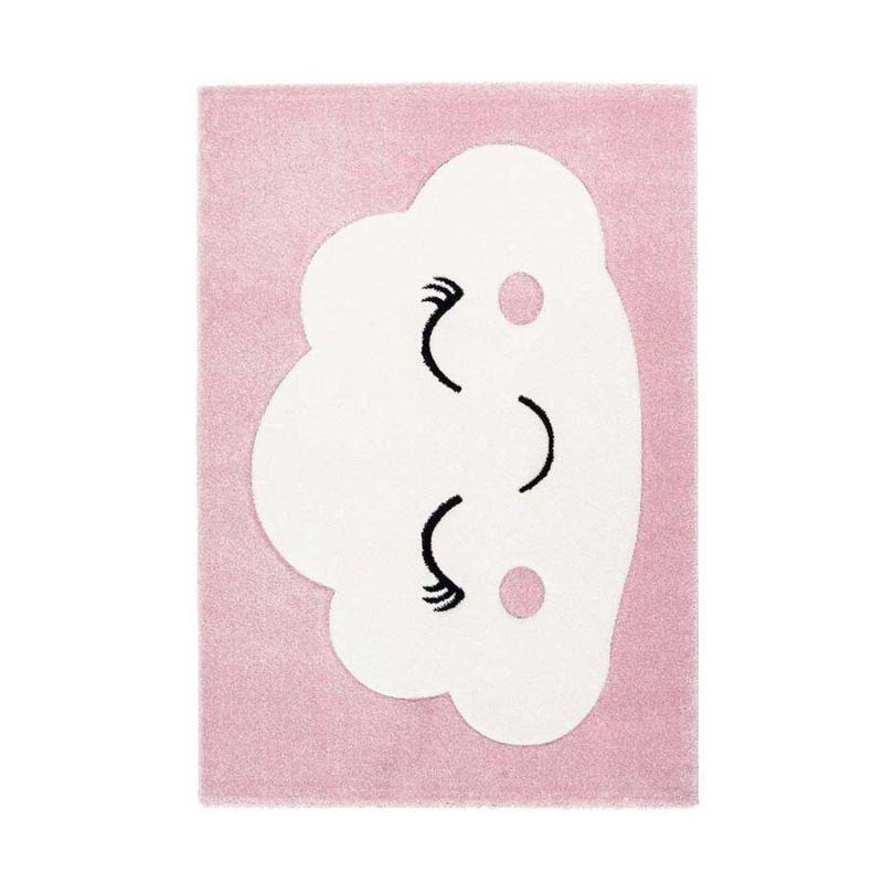 Kinderteppich Weiße WOLKE auf Rosa Hintergrund Höhe 15 mm F