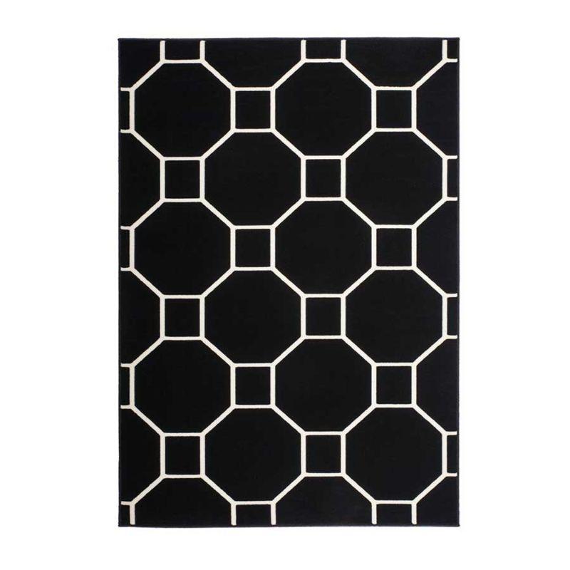 Kurzflorteppich Modern Schwarz mit Elfenbein QUADRAT UND ACHTECK Höhe 10 mm F