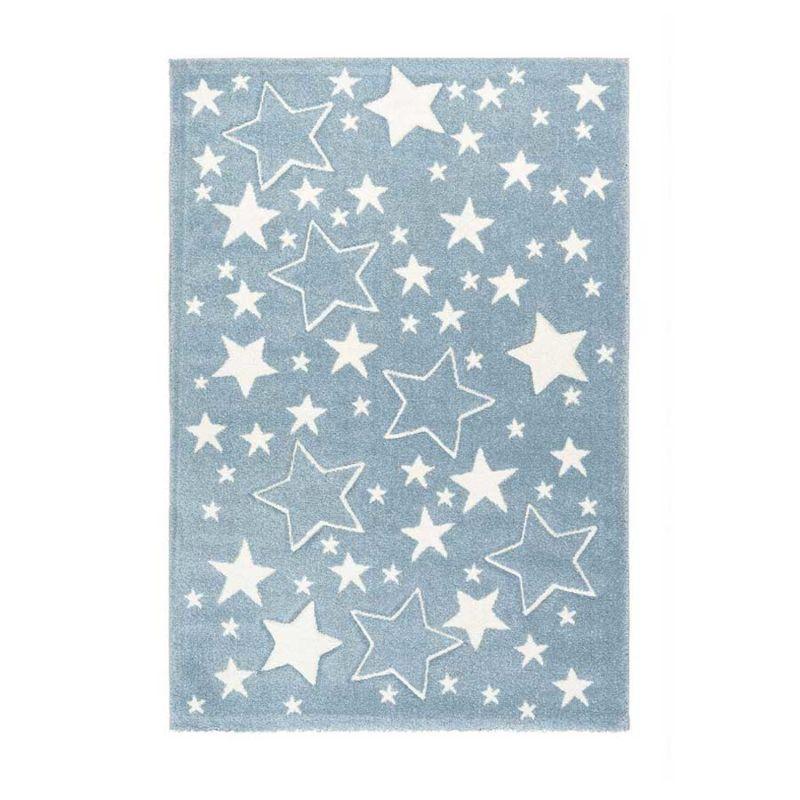 Teppich Weiße STERNE auf blauem Hintergrund Höhe 15 mm F