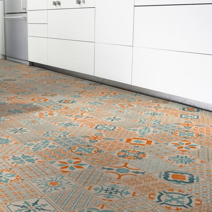 Tarkett Vinyl Starfloor Click 30 Orange Blue Retro Fliese M4V Erlebnismodus