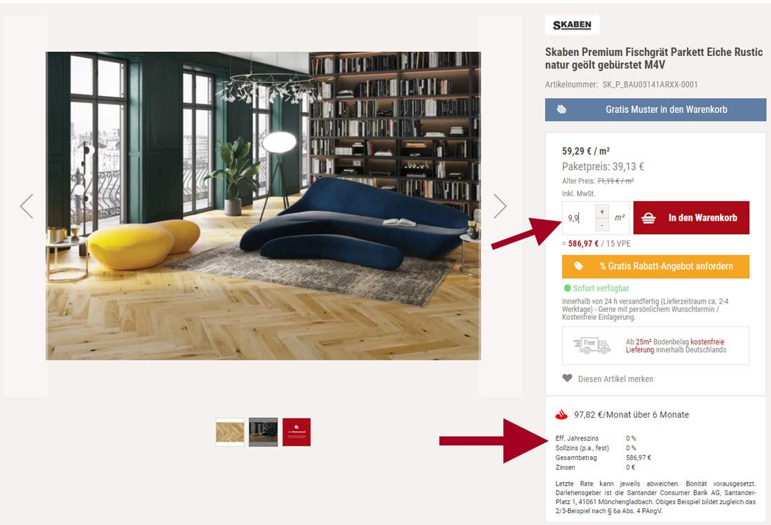 Santander Ratenkredit Darstellung Produktansicht