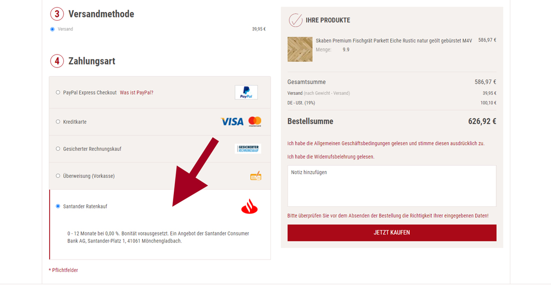 Santander Ratenkredit Darstellung im Warenkorb